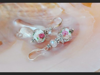 Lampwork Crystal Bridesmaid Earrings