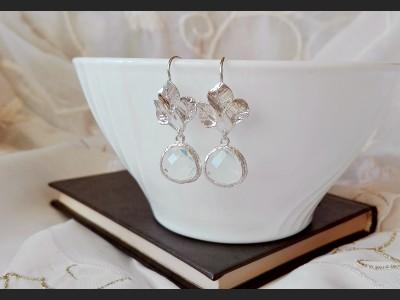 White Crystal Wedding Earrings