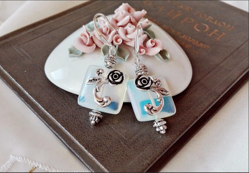 Art Deco Opalite Flower Earrings