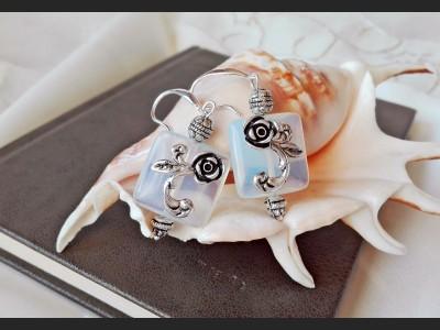 Art Deco Opalite Flower Earrings