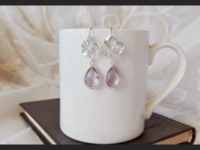 Light Purple Crystal Bridesmaid Earrings
