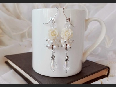 Wedding Pearl Flower Earrings