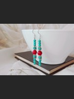 Turquoise and Howlite Boho Earrings