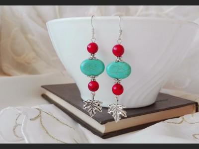 Boho Turquoise and Howlite Earrings