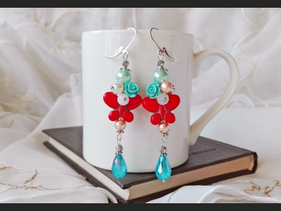 Howlite Butterfly Boho Earrings