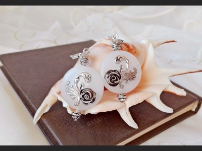 Victorian White Quartz Flower Earrings