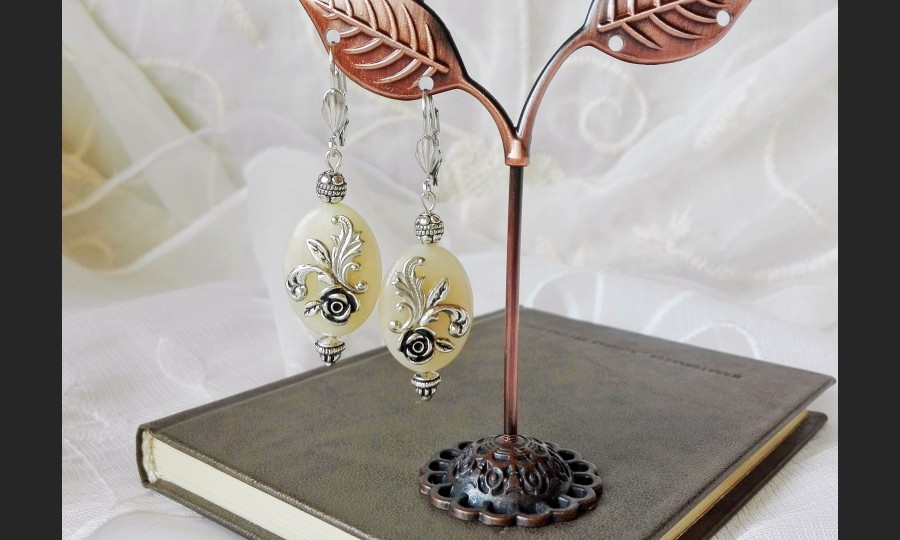 Yellow Jade Victorian Earrings