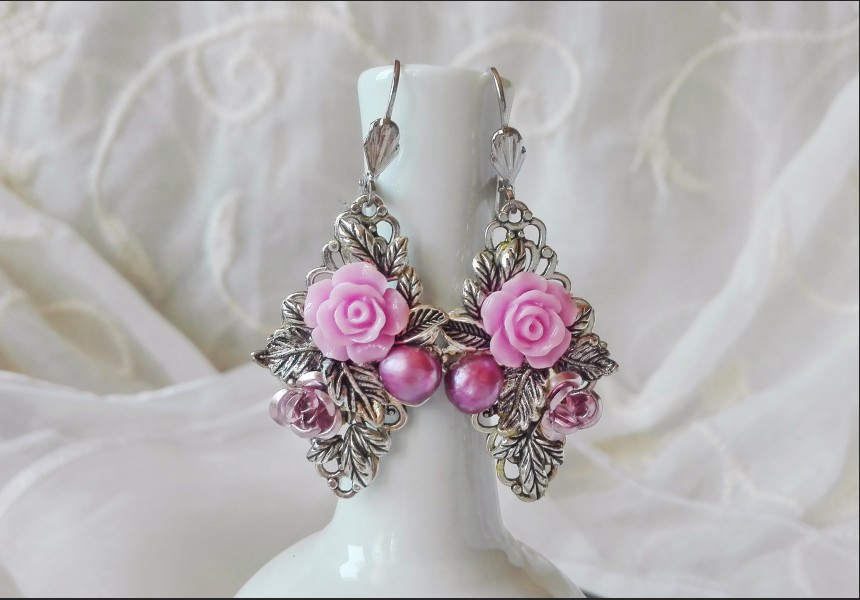 Art Deco Purple Rose Earrings