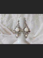 Art Deco White Rose Earrings