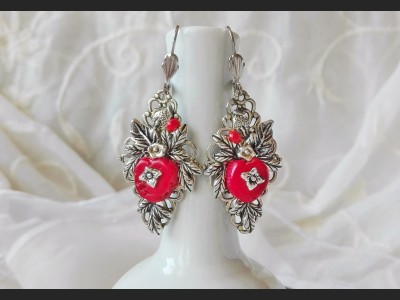Art Deco Coral Flower Earrings