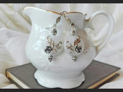 White Quartz Flower Victorian Earrings