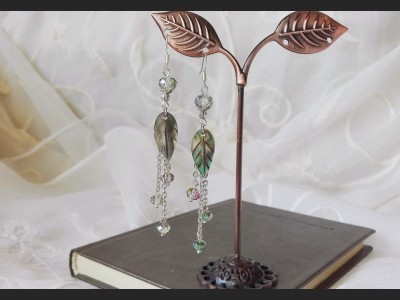 Mother of Pearl Shells Leaves Earrings