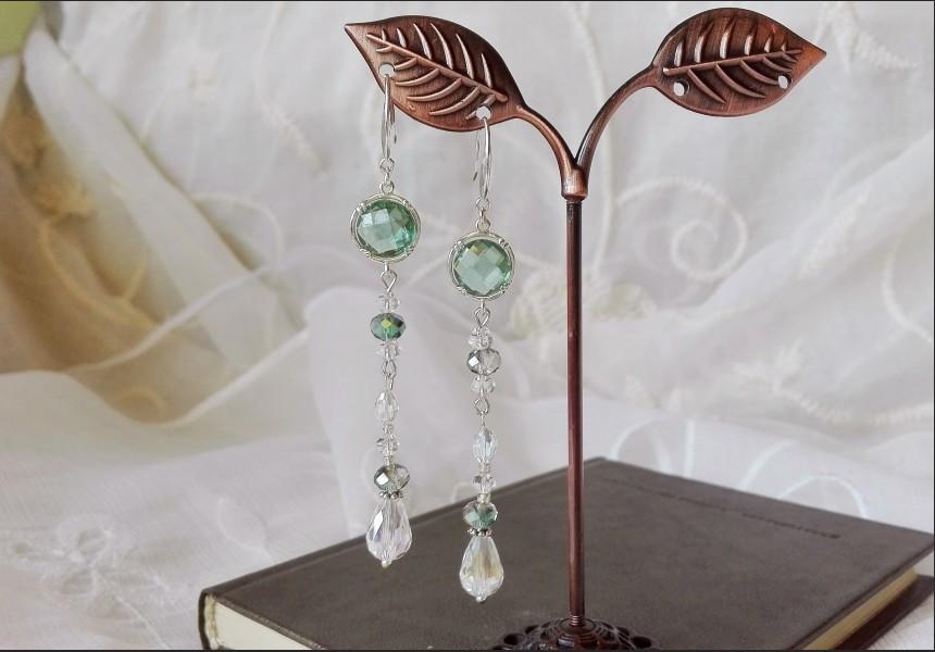 Green Crystal Bridesmaid Earrings