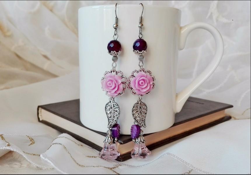 Purple Flower Agate Earrings
