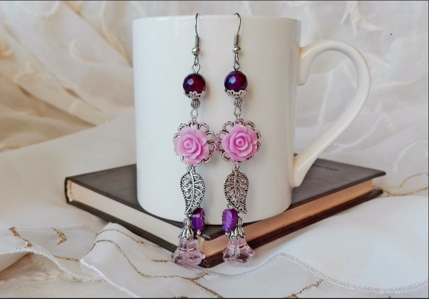 Purple Flower Agate Earrings