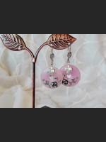 Art Vintage Rose Quartz Earrings