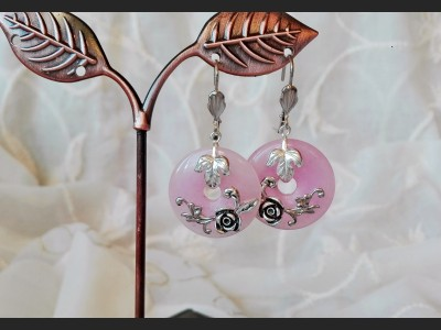 Art Vintage Rose Quartz Earrings