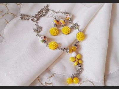Romantic Yellow Flower Jewelry Set