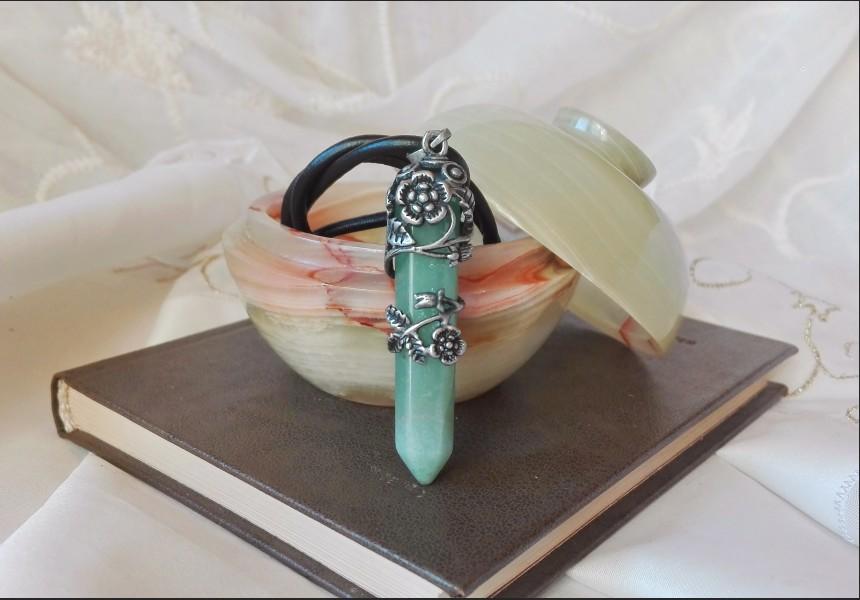 Green Aventurine Art Deco Necklace