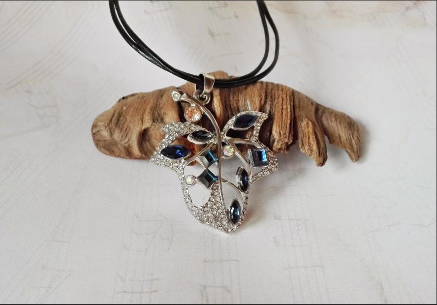 Dark Blue Crystal Leaf Necklace