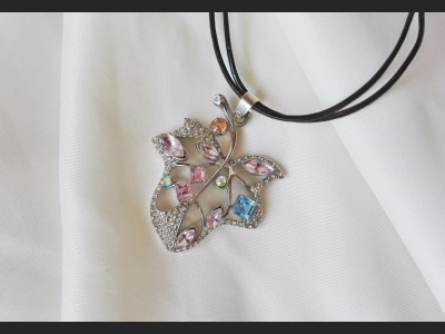 Multicolored Crystal Leaf Necklace