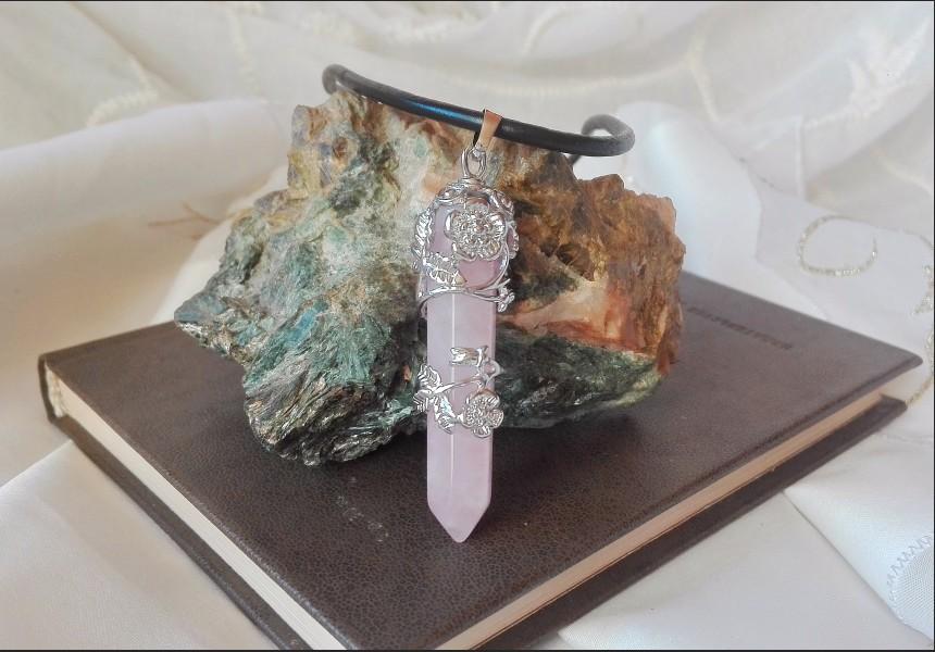 Rose Quartz Art Deco Style Necklace