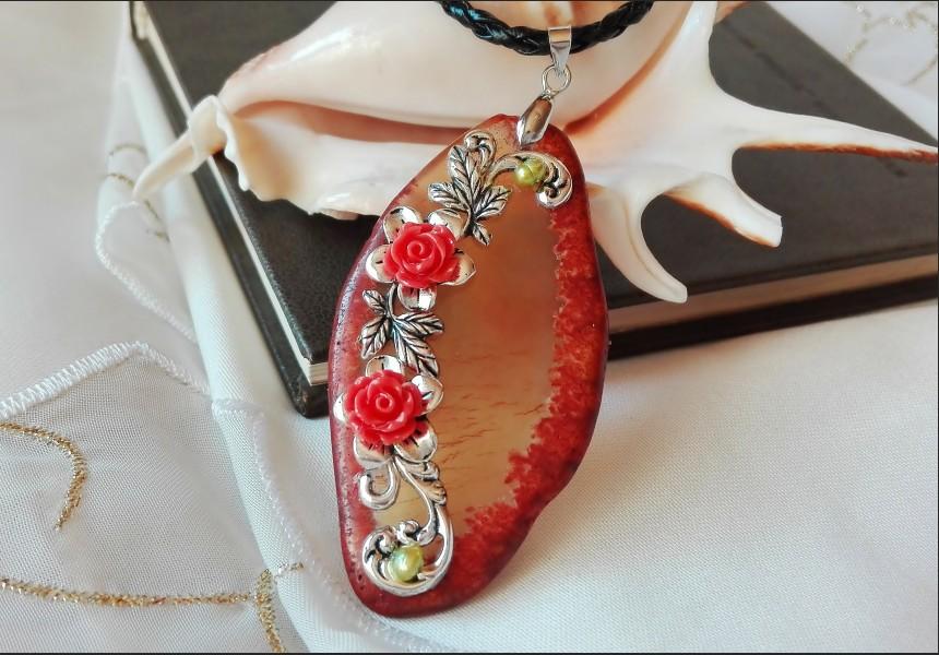 Brown Agate Vintage Necklace