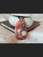 Brown Agate Filigree Vintage Necklace
