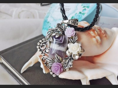 Purple Amethyst Vintage Style Necklace