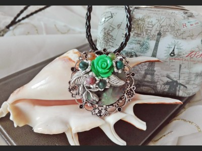 Victorian Style Filigree Rose Necklace