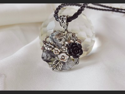 Rutile Quartz Victorian Style Necklace