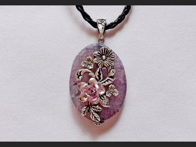 Purple Agate Art Necklace