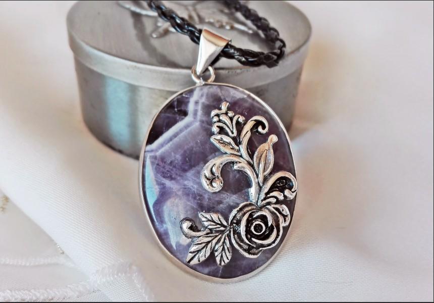Amethyst Vintage Cameo Necklace
