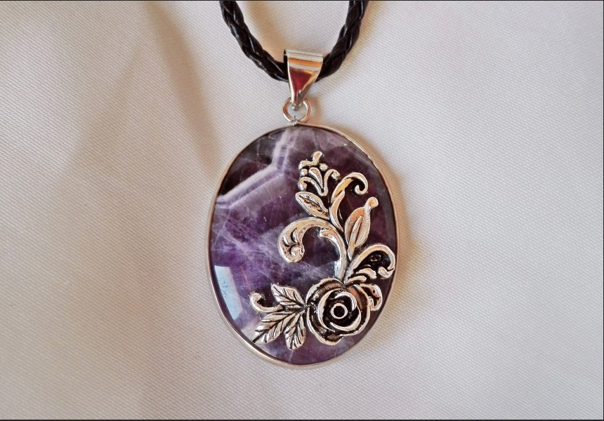 Amethyst Vintage Cameo Necklace