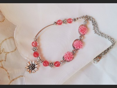 Cherry Quartz Gemstone Necklace