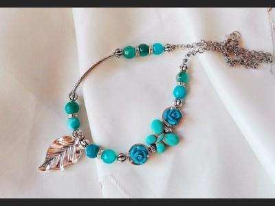 Blue Agate Gemstone Necklace