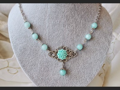 Blue Amazonite Gemstone Necklace