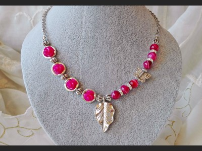 Pink Agate Gemstone Necklace