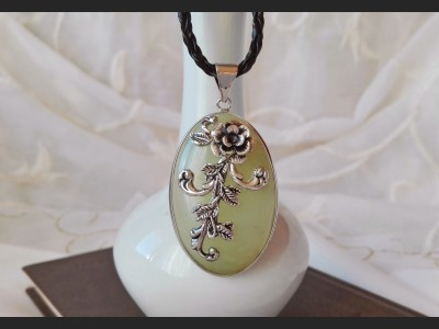 Nephrite Vintage Cameo Necklace