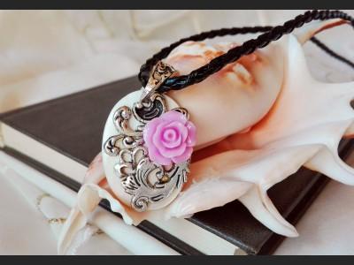 Purple Rose Romantic Pendant