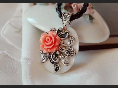 Orange Rose Romantic Pendant