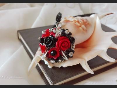 Vintage Red and Black Rose Necklace