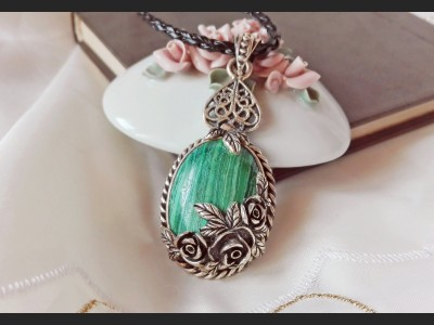 Green Malachite Victorian Necklace