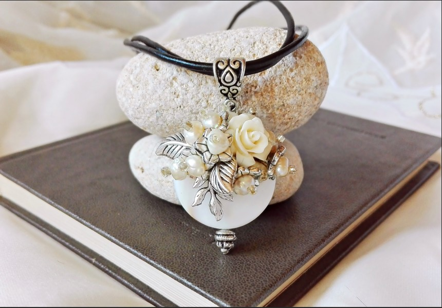 Victorian Style Flower and Pearl Necklace