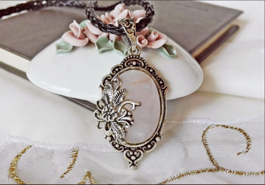 Rose Quartz Victorian Cameo Necklace