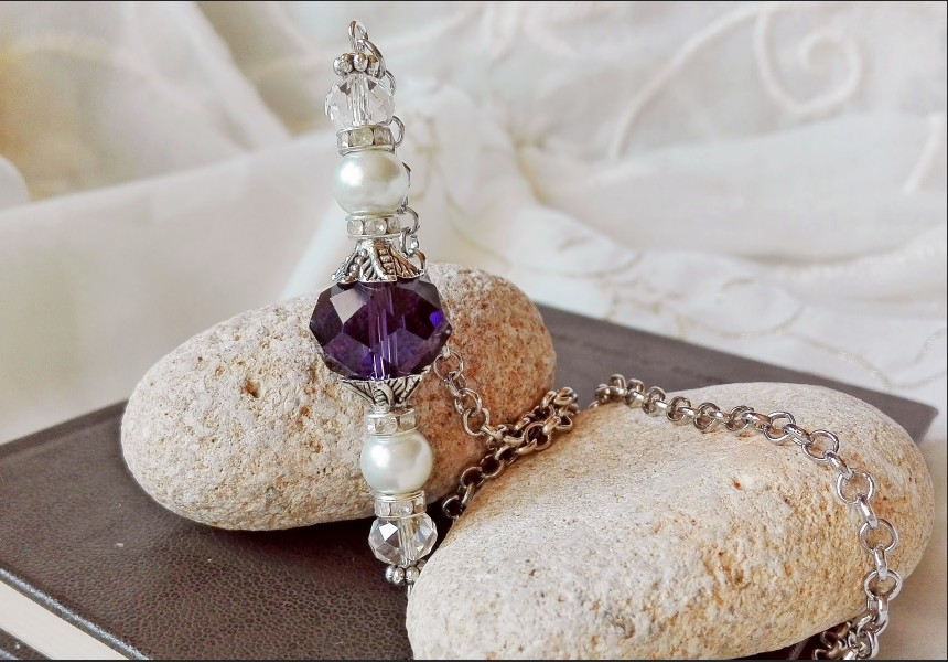 Dark Purple Crystal Necklace