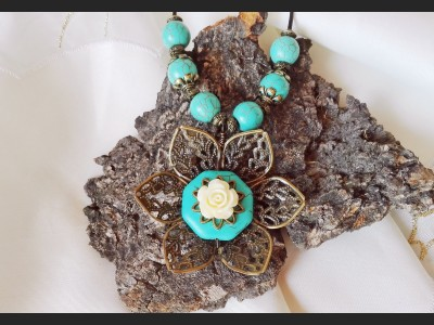Turquoise Leather Boho Necklace