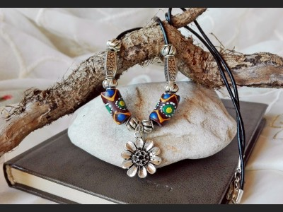 Ceramic Leather Boho Necklace