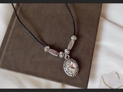 Boho Crystal Leather Necklace