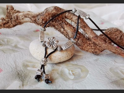 Antique Silver Boho Leather Necklace